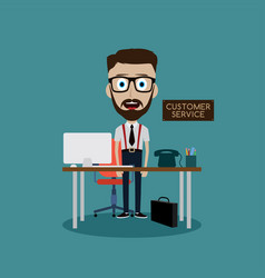 Businessman working behind office desk vector