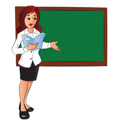 businesswoman with a file pointing at board vector image