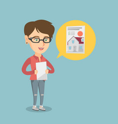 Caucasian woman reading real estate advertisement vector