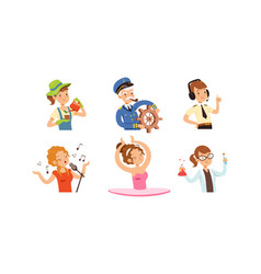 Children different professions set cute boys vector