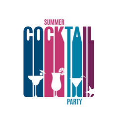 cocktail party lettering glass summer cocktail vector image