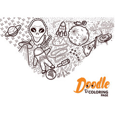 coloring book doodle space vector image