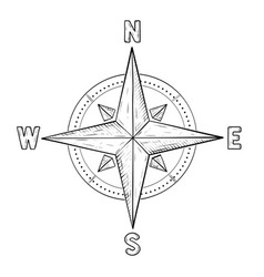 Compass rose with cardinal points hand drawn vector