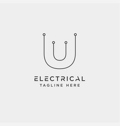 Connect or electrical u logo design icon element vector