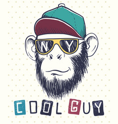 cool monkey chimpanzee dressed in sunglasses vector image