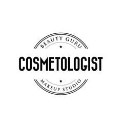 cosmetologist logo stamp vintage vector image