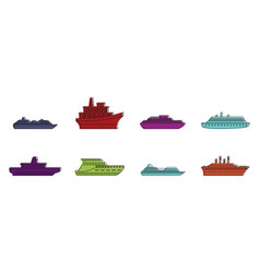 Cruiser icon set color outline style vector