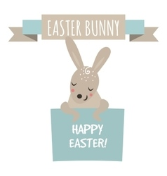 Cute bunny holding banner style vector