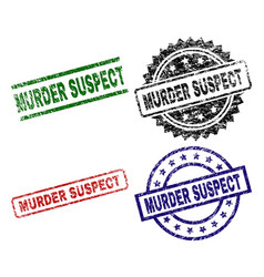 Damaged textured murder suspect seal stamps vector