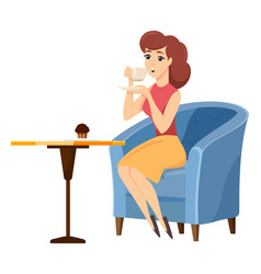 female with mug and brownie in coffeehouse vector image