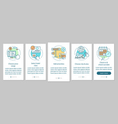 Find hotel onboarding mobile app page screen vector