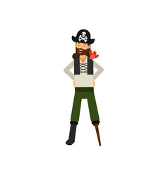 flat cartoon character of cheerful bearded pirate vector image