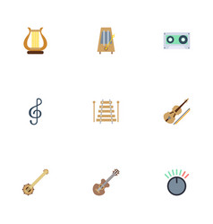flat icons tape fiddle knob and other vector image