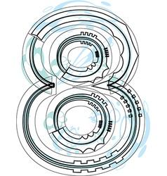 Font NUMBER 8 vector image