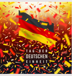 Germany independence day card with flag confetti vector