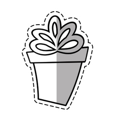 Gift round box ribbon linea shadow vector