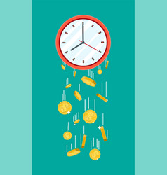 Golden coins falling from clocks vector