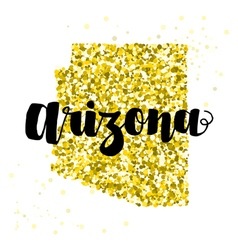 Golden glitter of the state of Arizona vector image