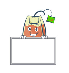 Grinning tea bag character cartoon with board vector