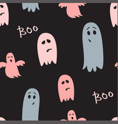 halloween dark seamless pattern cute ghosts vector image