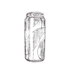 hand drawn soda can monochrome sketch vector image