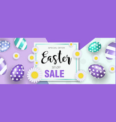 Happy easter banner with eggs and flowers easter vector