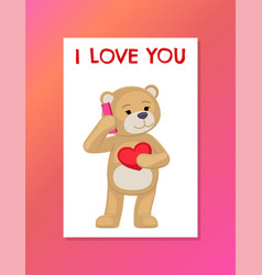 I love you poster with plush bear toy speak phone vector