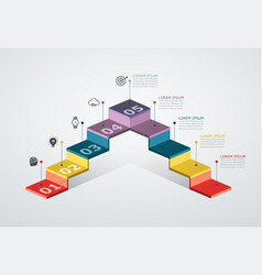 infographic design template with step structure vector image