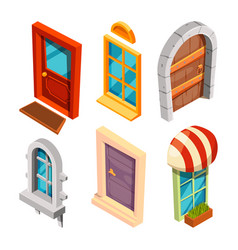 isometric doors and windows vector image