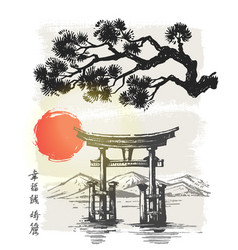 Itsukushima shrine japan vector