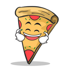 Laughing face pizza character cartoon vector