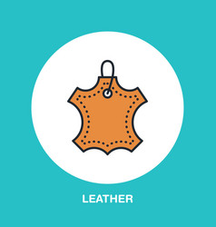 Leather material line logo flat sign for clothes vector