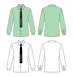 Long short sleeved mans buttoned shirt vector