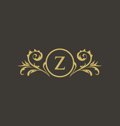 luxury crest decorative hotel boutique logo vector image