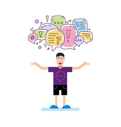 man and colorful color dialog speech bubbles with vector image