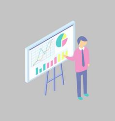 man presenting project at the blackboard cartoon vector image