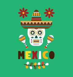 Mexican folk card invitation vector