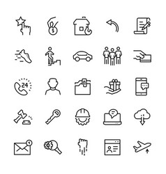 Miscellaneous icon set in line style editable vector