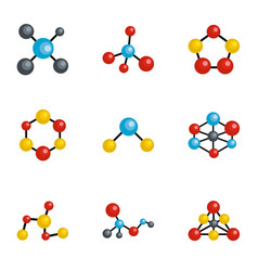 molecule icons set cartoon style vector image