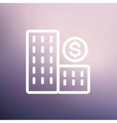 Money building thin line icon vector image