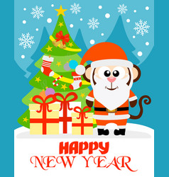 monkey happy new year card vector image