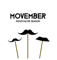 Movember mustache season mustache mask on stick vector
