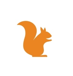 Orange squirrel sits minimalism into flat vector image