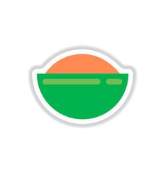 oriental fried rice sticker vector image