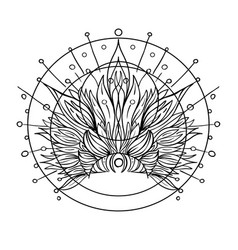 ornate inked decorative mandala inspired element vector image