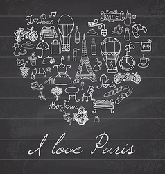 Paris doodles elements Hand drawn set withefel vector image