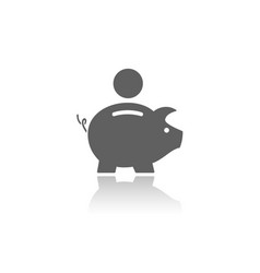 Piggy bank icon with reflection on a white vector