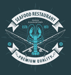 seafood restaurant logo with lobster vector image