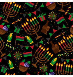 Seamless pattern for kwanzaa with traditional vector