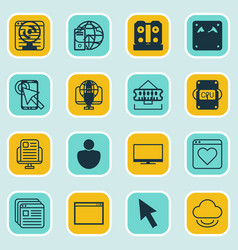 set of 16 internet icons includes send data data vector image
